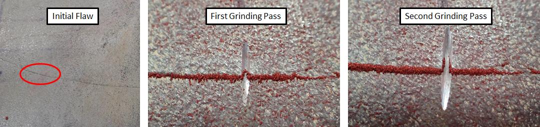 Grinding to determine flaw orientation/depth